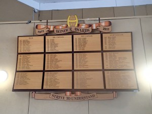 This is the original school honour board.